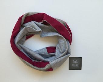Baby Infinity scarf - Toddler scarf bib - warm raspberry & grey stripe