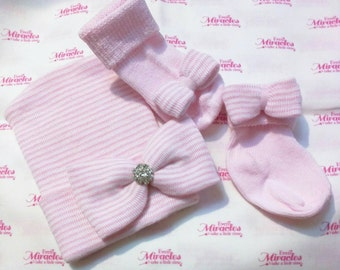 2 Layer Newborn Hospital Hat w/ Socks! Our Most Popular with A Touch of Bling! 1st Keepsake! You Choose Bow Placement on Socks!!