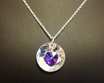 Handmade Swarovski Crystal Heart Domed Necklace