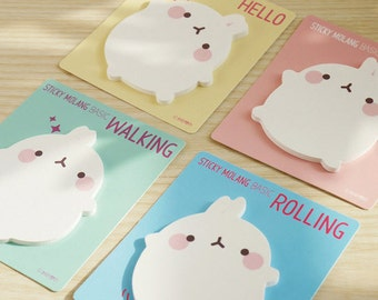 Molang Sticky Note 4 Lot Post-it Memo Bookmark Index Tab Gift Point Cute Kawaii Korean Stationery Office School