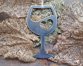 Wine Christmas Ornament Love Vino Heart Rustic Metal Christmas Tree Ornament Holiday Gift Industrial Decor Wedding Favor By BE Creations