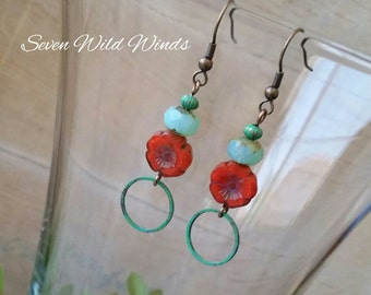 Red Pansy and Sea Glass Earrings with Antique Brass