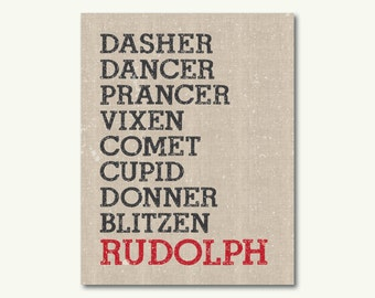 "Reindeer Names Rudolph Christmas Holiday Art Print - INSTANT DOWNLOAD - 11""x14"""