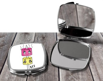 2 x Compact mirrors- BFF Marshmallows on a stick Best Friends For ever