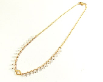 """Necklace """"Tops"""" gold plated 24 karat finishing tops Crystal white mother-of-Pearl and diamond."""