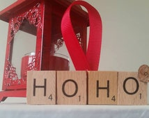 HO HO Scrabble Tile Christmas Tree Decoration - Bauble HoHoHo Love Old Fashioned
