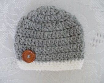Crochet baby hat Newborn boy hat White and gray baby hat Newborn winter hat Baby boy hat Baby boy beanie Newborn boy outfit