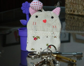 50% OFF SALE! Fabric Cotton Key Holder Pouch Handmade Fabric Key Ring Key Holder