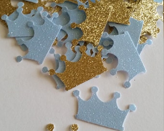 Royal Prince Baby Shower Decorations, Baby Blue and Gold Crown Prince Confetti, Crown, Prince Crown, Baby Crown, Prince Baby Shower