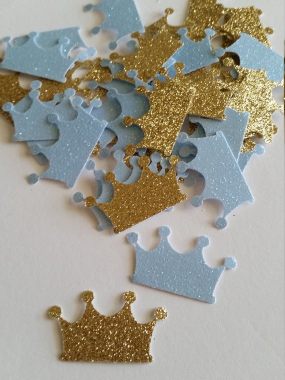 royal prince baby shower decorations baby blue and gold crown prince confetti crown