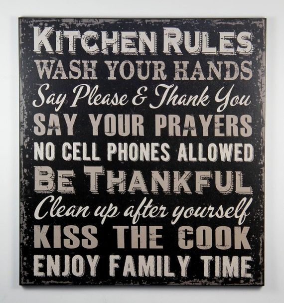 Kitchen Rules Sign: Primitive Black Wood Sign KITCHEN RULES Wash Your Hands Say