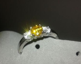November Citrine Birthstone Ring Stainless Steel Ring