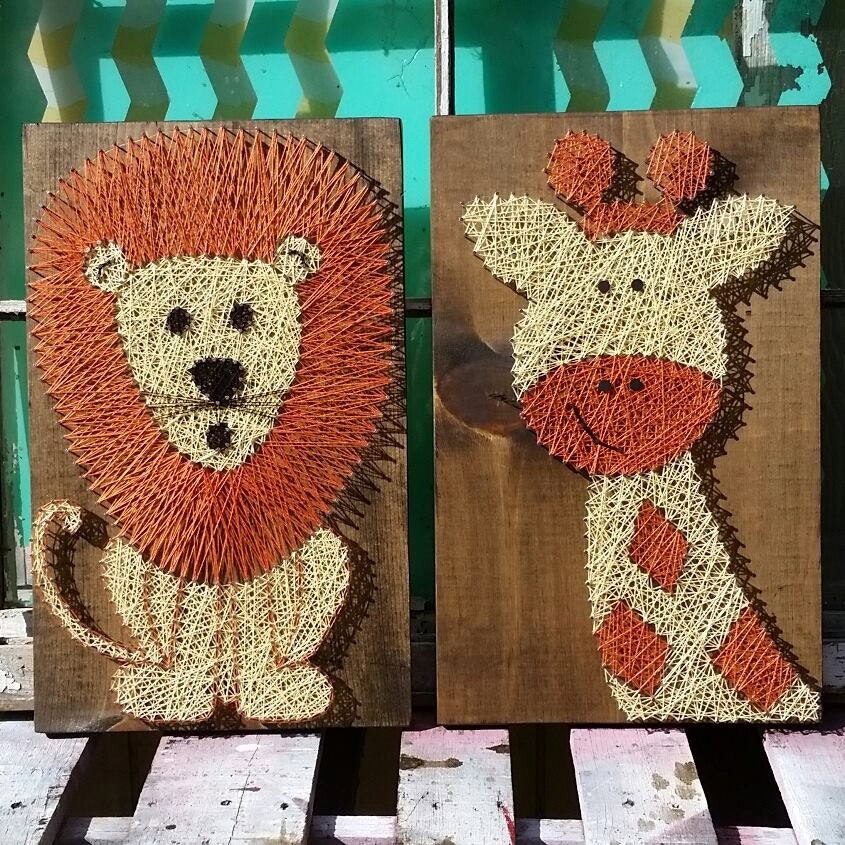 lion and giraffe nursery decor string art animals unique. Black Bedroom Furniture Sets. Home Design Ideas