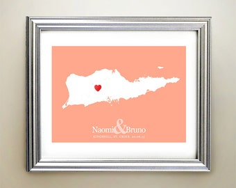 St Croix Custom Horizontal Heart Map Art - Personalized names, wedding gift, engagement, anniversary date