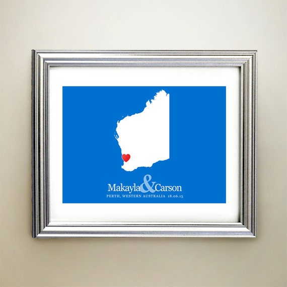 Unique Wedding Gifts Perth : Western Australia Custom Horizontal Heart Map Art