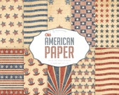 "American Digital Paper: ""Old American Paper"" patriotic set with old paper texture with stars and stripes in red and blue colors"