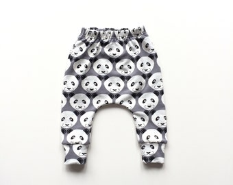 Gray baby infant harem pants with pandas. Comfy infant pants with cuffs. Grey  sweat fabric. Sweat pants. Slim fit harem pants