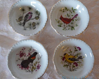 "Royal Cauldon England Ironstone 4"" Bird Plate Dish Henry Pausch, Pine Grosbeak, Redwinged Blackbird, Red Cardinal, Goldfinch - Avian, Aviary"