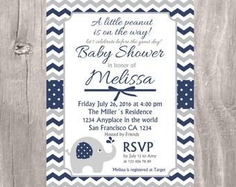 Elephant Baby Shower Invitation, Navy and Gray Printable Invite, Chevron Navy and Gray Printable Elephant Baby Shower Boy Invite,