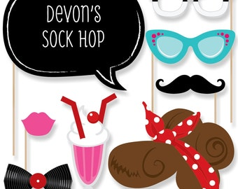 50's Sock Hop - Photo Booth Props - Prop Kit with Mustache, Hat, Bow Tie, Glasses and Custom Talk Bubble - Sock Hop Prom Theme - 20 Pieces
