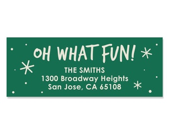 Oh What Fun Address Labels - Personalized Return Address Sticker - 30 Count
