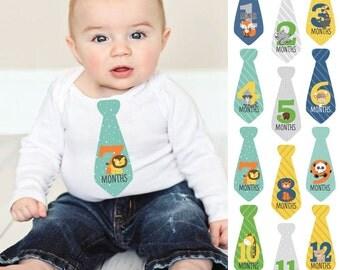 12 Necktie Zoo Animals - Baby Monthly Tie Stickers