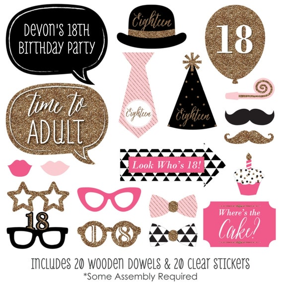 chic 18th birthday pink black and gold party photo booth. Black Bedroom Furniture Sets. Home Design Ideas