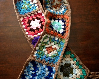 Handmade Crocheted Granny Square Scarf