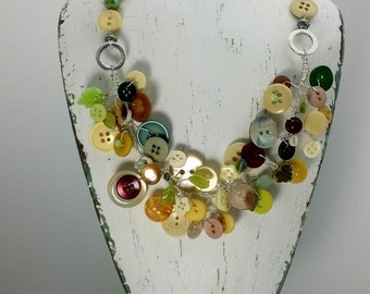 Hand-Wired Vintage Button Necklace, Shades of Pale Greens, Berry, Yellows and Fall Tones, BN106