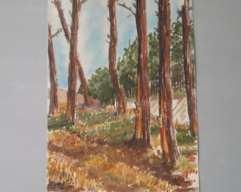 ORIGINAL WATERCOLOR PAINTING / French artist / Provence / Art / Collectible / 60s / E Brunet / Signed / Dated / Free shipping