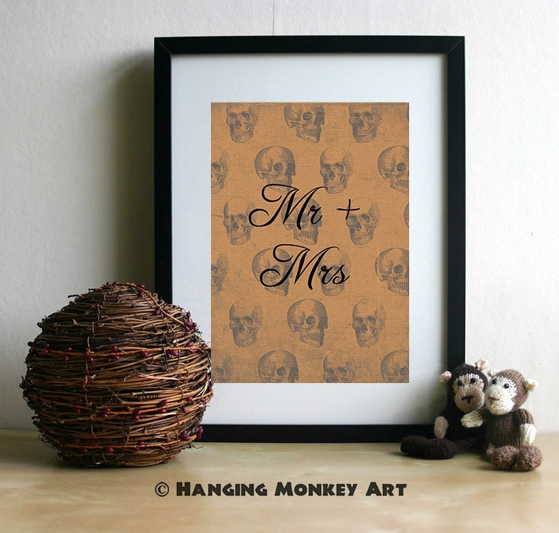 Alternative Wedding Gifts Uk : Mr and Mrs Print Alternative Wedding gift by HangingMonkeyArts