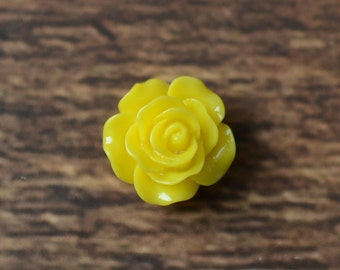 0.6 inch Resin Flower, Embellishments for Hairbows, DIY Hair Bow Supplies, Resin Rose Flatbacks LOT OF 1 or 2 Yellow