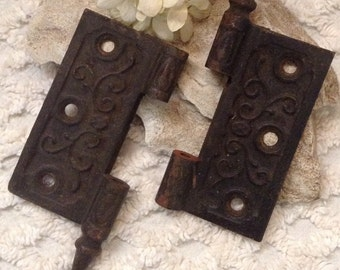 Vintage Door Hinges...Architectual Salvage...Ornate Design...Assemblage...