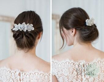 wedding headpiece | bridal fascinator | bridal hair accessory | bridal haircomb | beaded hair comb | wedding hairpiece silver