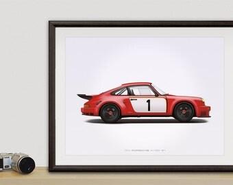 1974 Porsche 911 RSR (Red) Illustration poster, print