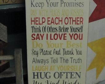 """FREE SHIPPING: Primitive/Rustic/Country- 11x24 Wooden Sign- """"Family Rules- Keep Promises-Pay with Hugs and Kisses...Love Each Other """""""