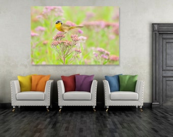 Common Yellowthroat Pink Flowers, Spring Flowers, Yellow Black Bird Art Print, Nature Wildlife Flower Photography, Wall Photo Printable