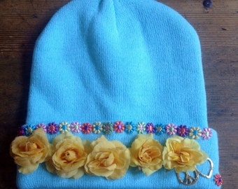Flower power beanie hat