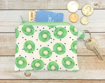 Kiwi Coin Purse Keychain Zipper Coin Pouch Change and Card Wallet Party Favor Bridal Gift