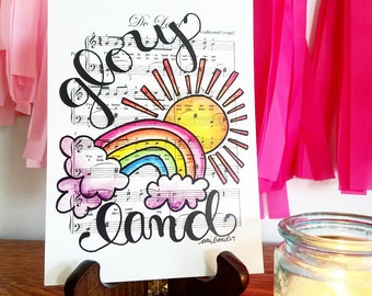 Do Lord I've Got a Home in Glory Land 5x7 Print Hymn Fine Art Hymnal Watercolor Ink Painting Praise Sheet Music Hand Lettering War Room