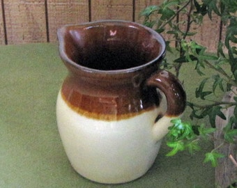 Vintage Brown Drip Cream Pitcher R.R. P. Co. Roseville OH American Pottery Coffee Creamer