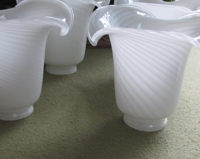 White Swirled Blown Glass Sconces Set of Four (4) Venti White on White Blown Glass