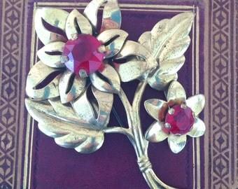 Vintage Ruby Red Rhinestone Flower Brooch Pin