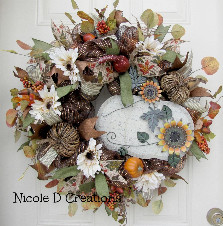 Thanksgiving Front Door: Fall Wreath Thanksgiving Wreath Front Door Wreath Deco Mesh