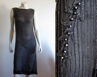 1930s Dress / Black Silk Gown / Rhinestone Glass Beaded Gown / SMALL