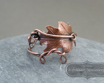 Oak leaf ring ~ Thumb ring ~ Adjustable ring ~ Copper leaf ring ~ Antique copper leaf ring ~ Bohemian jewelry ~ Nature inspired jewellery ~