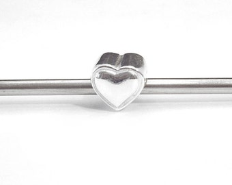 Sterling Silver  Heart Bead, Large Hole, European Style