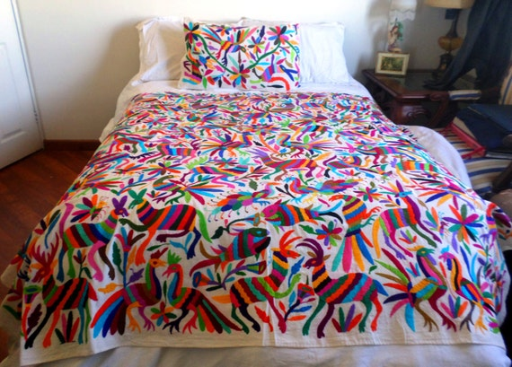 Otomi fabric multicolor hand embroidered by otomi woman otomi Mexican embroidered bedding