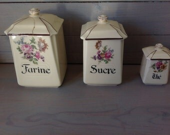 Lot Vintage 3 kitchen Pots / flour / sugar / The