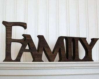FAMILY Wood Sign, Wood Sign, FAMILY Word Sign. Stained FAMILY Letter Sign